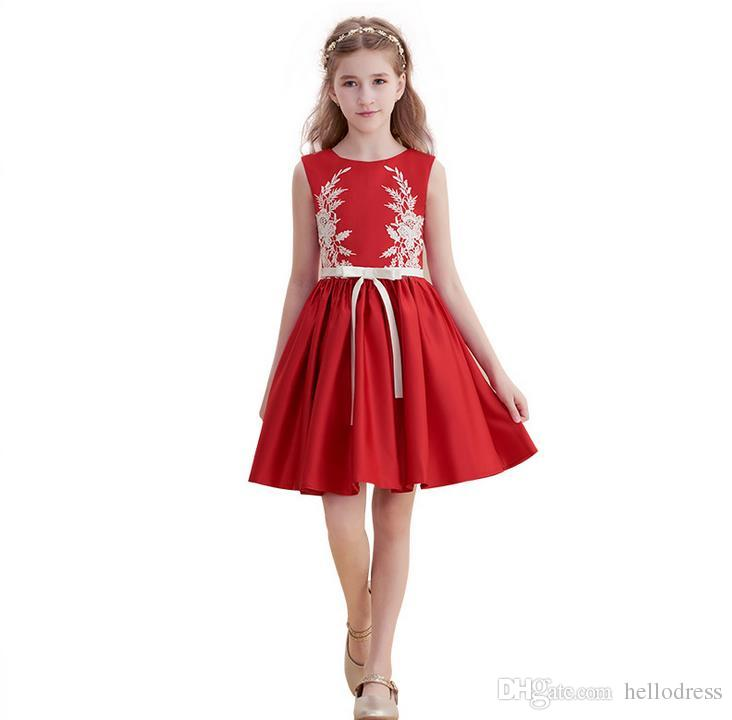 c522e784012 Red Short Flower Girl Dresses Red Knee Length Lace Applique Jewel Neck  Sleeveless Prom Party Holiday Dresses For Kids Formal Occasion Flower Girl  Dresses ...