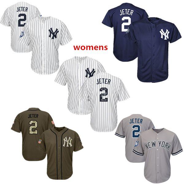 the latest 638e3 c4de6 Womens New York Yankees Baseball Jerseys 2 Derek Jeter Jersey Navy Blue  White Gray Grey Green Salute Team Logo