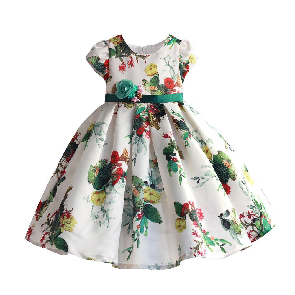 5bc0f6e3e749 2019 Girls Dress Cactus Print Soft Party Holiday Performance Kids ...