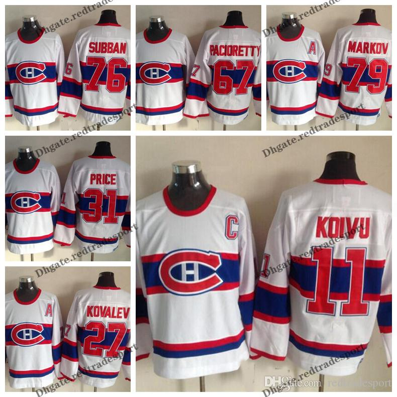55e434c256c 2019 Vintage Montreal Canadiens 11 SAKU KOIVU 27 ALEX KOVALEV 79 Andrei  Markov 67 Max Pacioretty 31 Price 76 Subban 1946 White Hockey Jerseys From  ...