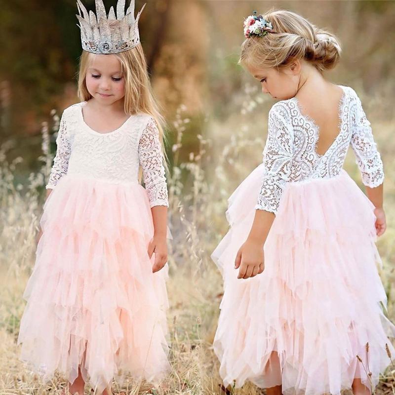 be2246cc592a6 Acheter 2018 Été Fille Robes Dentelle Princesse Dos Nu Floral ...