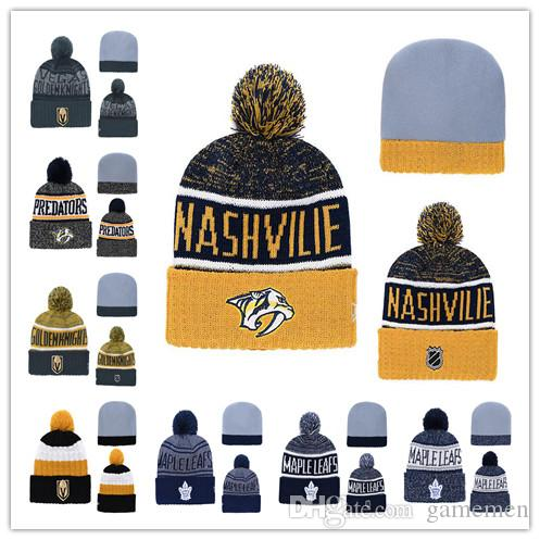 0b95b761386ecb 2019 Beanies Hats Vegas Golden Knights Ice Hockey Knit Beanies DORONTO  MAPLE LEAFS NASHVILLE PREDATORS Embroidered Stitched Hats One Size From  Gamemen, ...