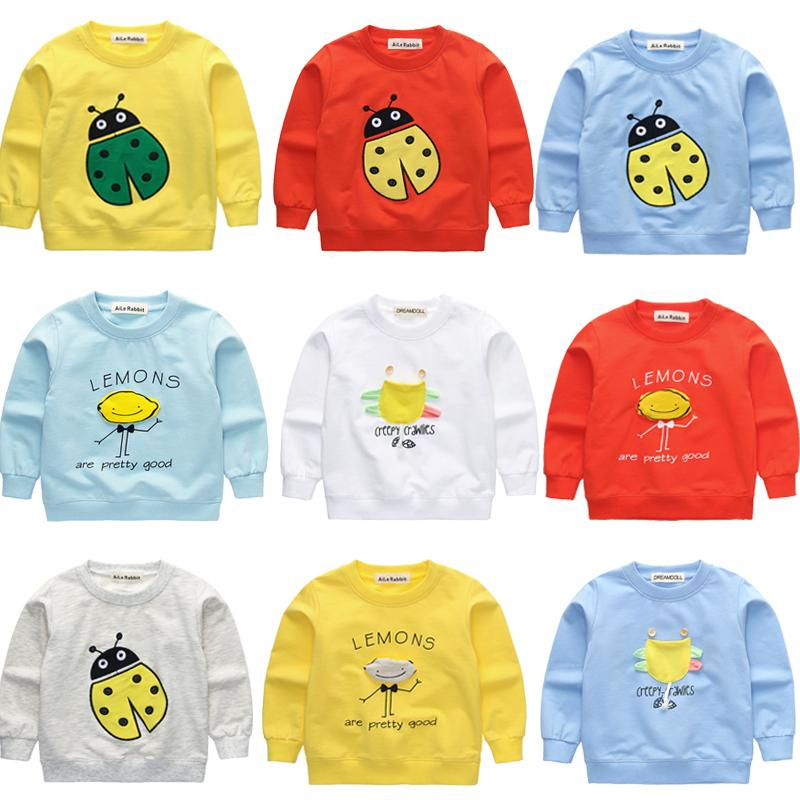 Baby Boys and Girls Clothes New Korean Cotton T-shirts Long-sleeved Cartoon Insect Tops for Kids Children's Clothing k1