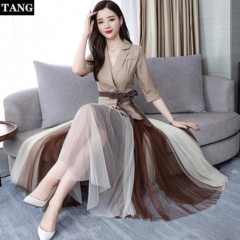 afacbbd3cdb Tang 2019 Women Elegant Maxi Dresses Floor Length Deep V Neck Party ...
