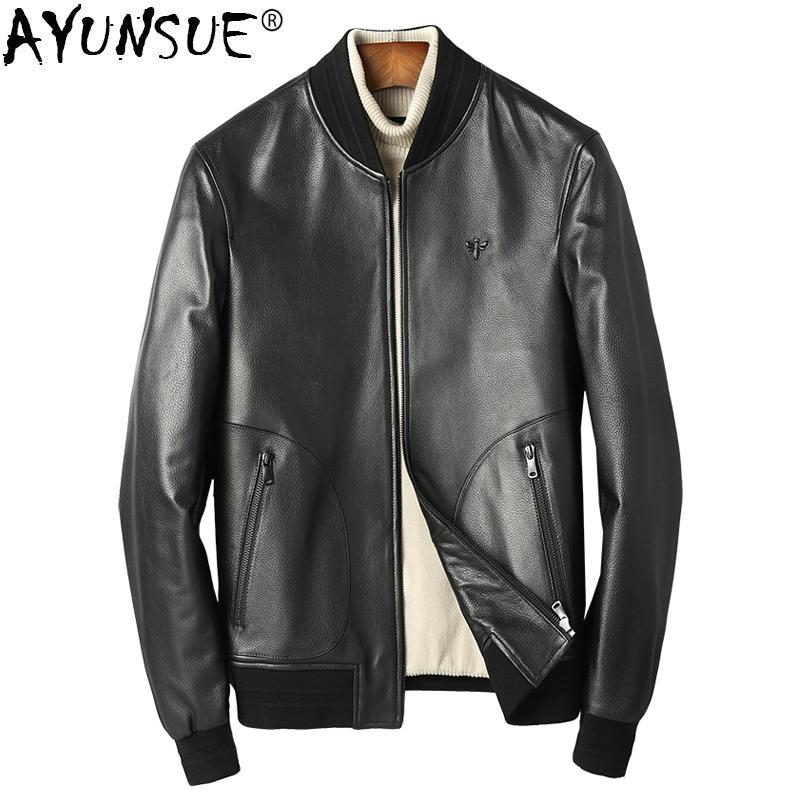 976b668df1c 2019 AYUNSUE Genuine Leather Jacket Men Short Real Sheepskin Coat Spring  Baseball Uniform Motorcycle Men S Leather Jackets KJ1355 From Cute08
