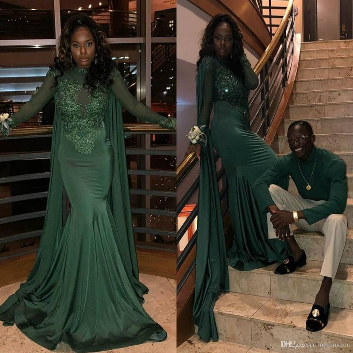 Emerald Green Mermaid Prom Dresses Arabic Dubai Long Sleeve Lace Appliques  Illusion Sequined Evening Dress Black Girls Formal Party Dresses Online Prom  ... 7d1ba985c06a