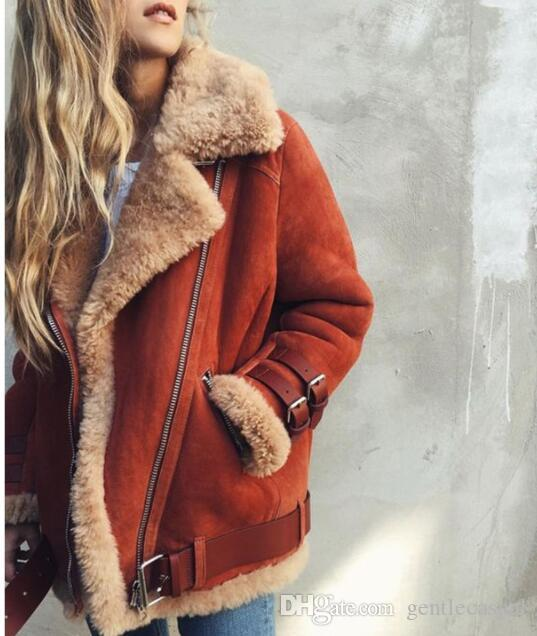 Women Streetwear Loose Coats Lamb Fur Warm Winter Coats Woman Zipper Design  Outerwear Tops Ladies Suede Fabric Coats PLUS Size S 5XL UK 2019 From ... 8961ee87cb