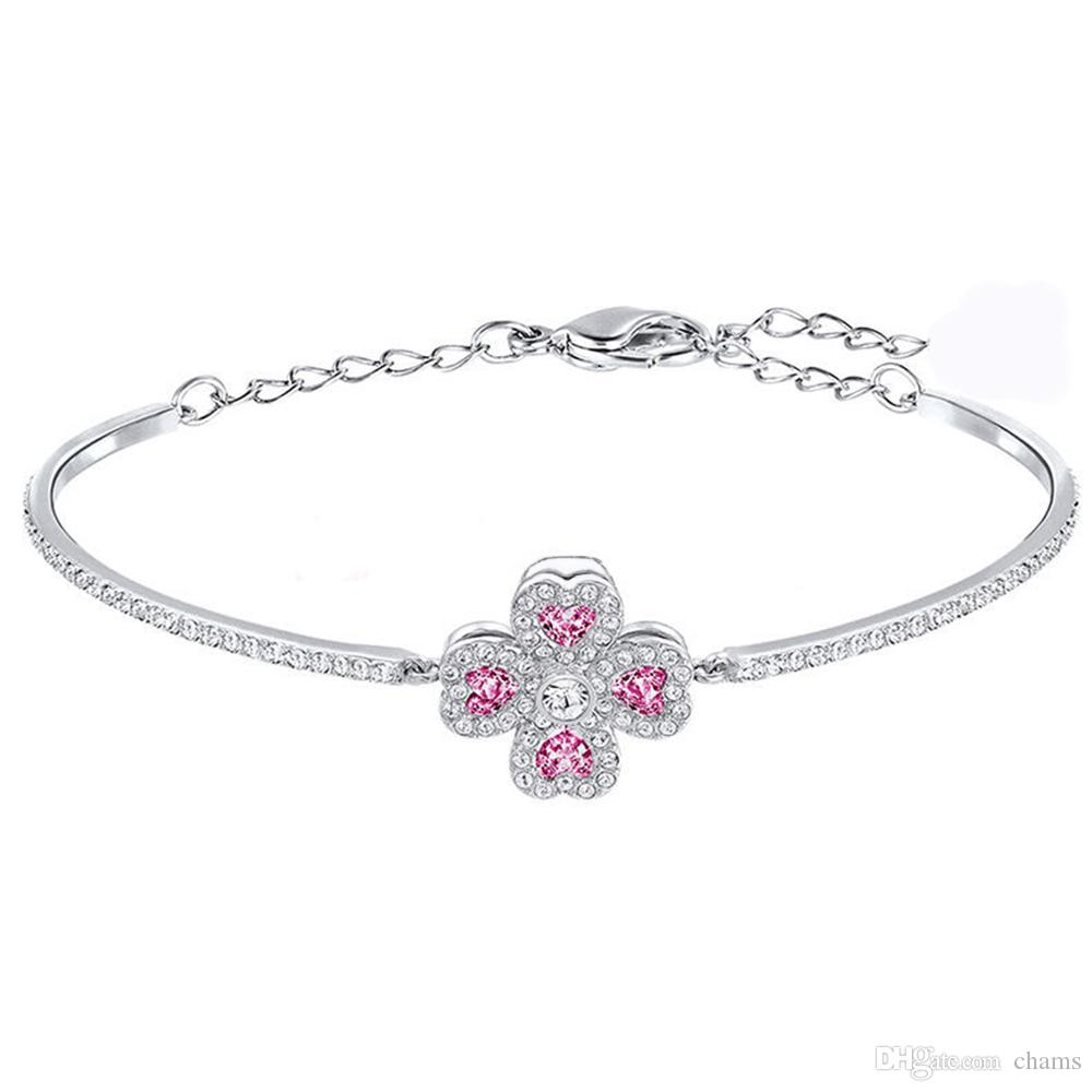 1f5b9c70bb6a6 Swarovski new crystal adjustable purple lucky four-leaf clasp bracelet  female 5250725 to send a girlfriend gift