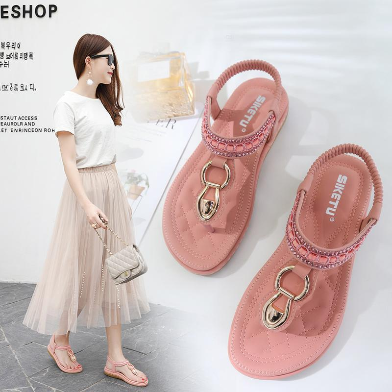 GOXPACER 2019 Korean Style Women's Sandals Summer New Bohemian Water Drill Herringbone Pinch Flat-soled Sandals Free Shipping