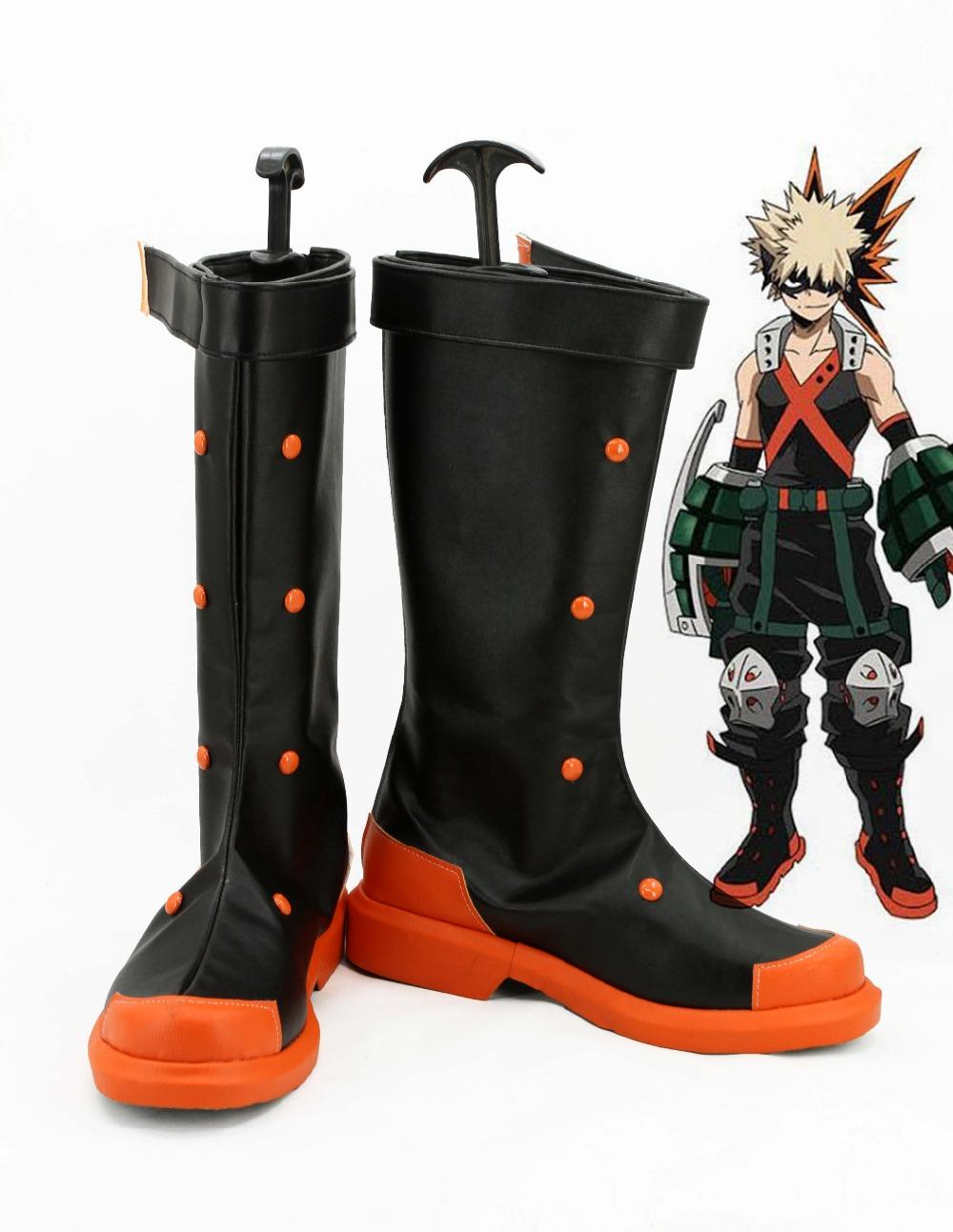 Cheap Shoes Boku no Hero Academia My Hero Academia Bakugou Katsuki Cosplay Boots Shoes For Costume Custom Made