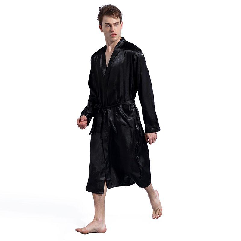 Black Long Sleeve Chinese Men Rayon Robes Gown New Male Kimono Bathrobe  Sleepwear Nightwear Pajamas S M L XL XXL Bath Robe Online with  13.84 Piece  on ... 54fa3a552