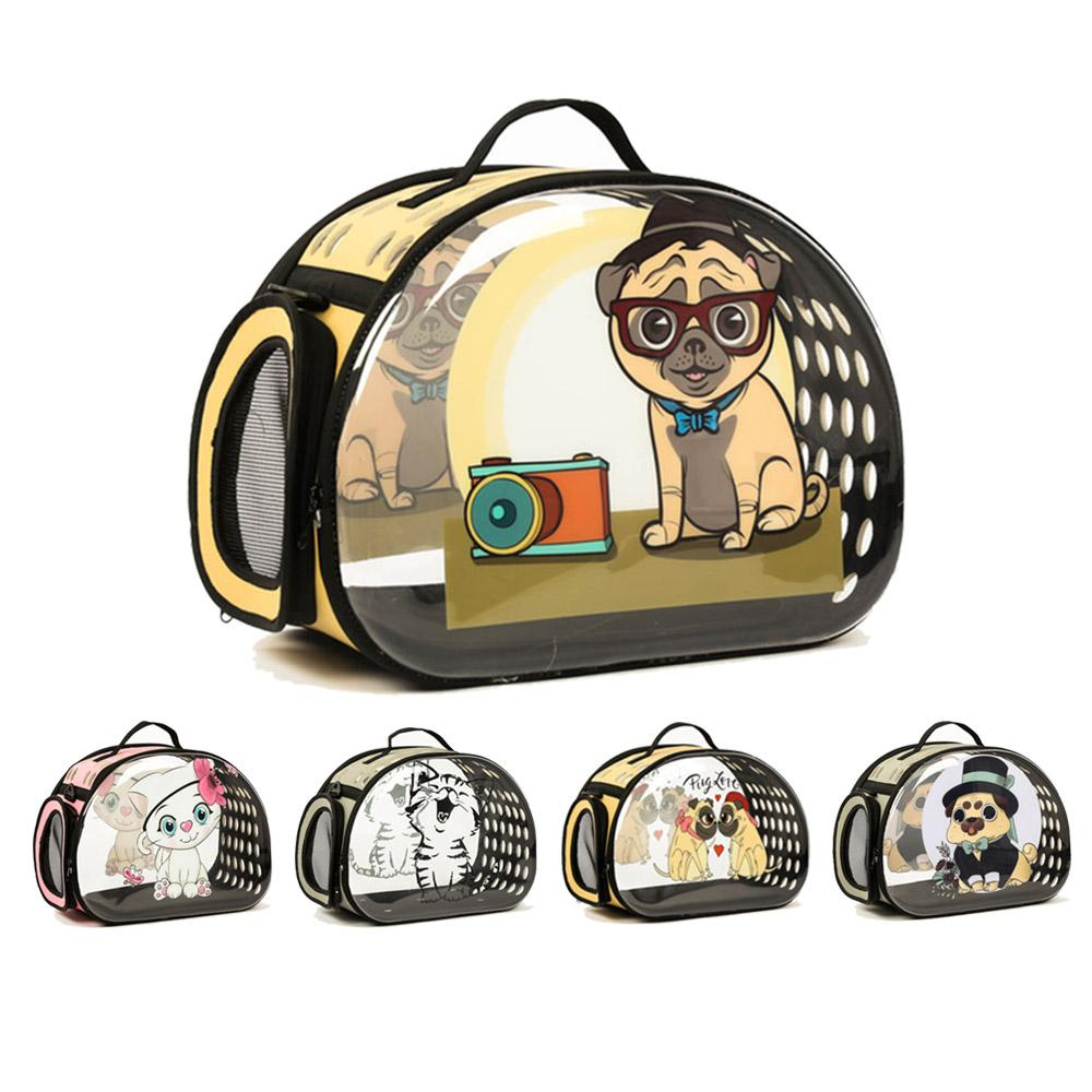 Transparent Dog Carrier Foldable Handbag Cat Travel Bag Breathable Shoulder Bags For Small Dogs Puppy Carrying Pet Backpack