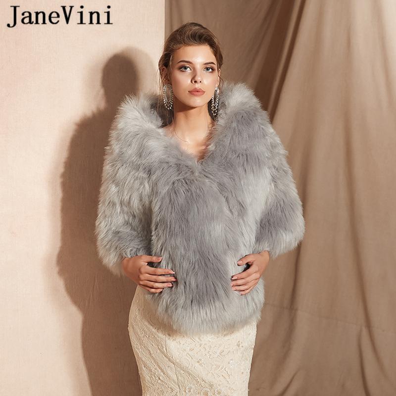 810f6010d JaneVini Mode Grey Shrug Fausse Fourrure Châle et Wraps Femmes Bolero Hiver  Manteau Chaud Vestes pour Prom Party Casaco