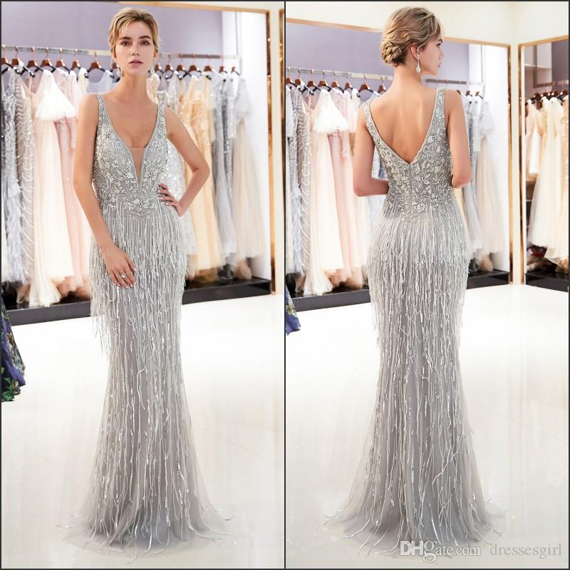 ec9ba0c8b79 2019 Designed Sexy Plunging V Neck Evening Dress Mermaid Appliques Beaded  Long Formal Pageant Party Gowns Robes De Fiesta Evening Dresses On Sale  Evening ...
