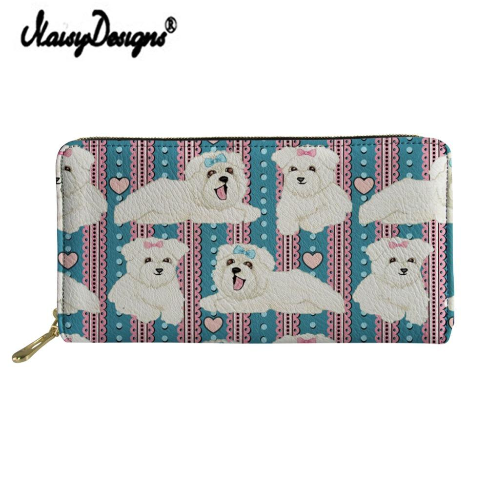 Noisydesigns Bolognese Cartoon Print Women Leather Purse Zipper Cute Wallets Long Clutch Portable Lady Bag Coin Card Holders Dog