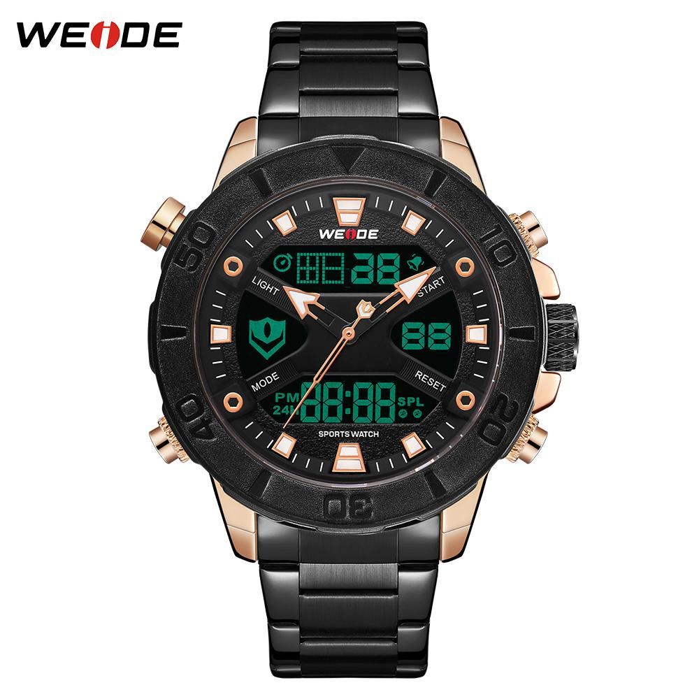 dc2f4d6271 WEIDE Watches Men Stainless Steel Quartz Wristwatches Waterproof  Multi-function LCD Analog Digital Men's Clock Gifts