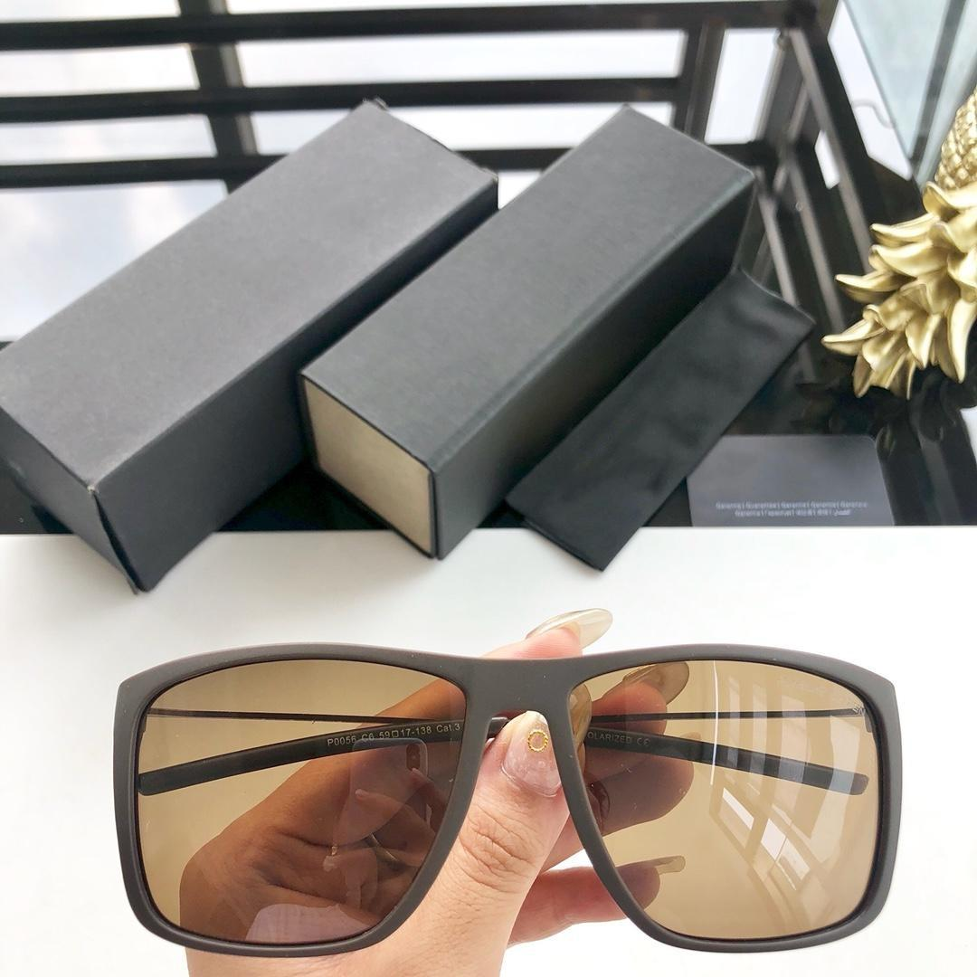 Brand sunglasses - new square men's polarized sunglasses 0056 metal frame spring legs comfortable size 59-17-138