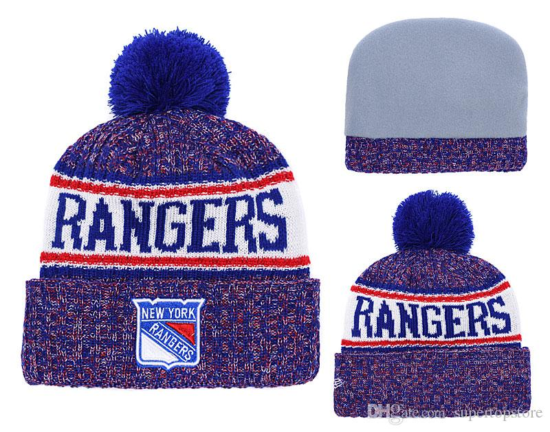 055fa977458 NEW Men S New York Rangers Knitted Cuffed Beanie Hats Striped Sideline Wool  Warm Hockey Team Beanie Cap Men Women Bonnet Beanies Skull Black Baseball  Cap ...