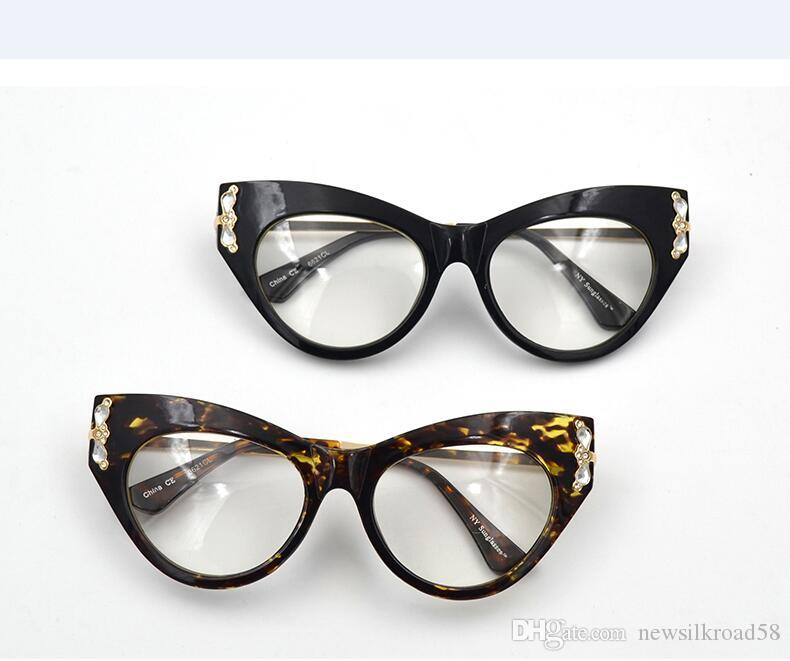 563ac760d58 Women Cat Eye Eyeglasses Frame Luxury Rhinestone Optical Glasses Female  Retro Clear Lens Spectacles Titanium Glasses Frames Trendy Eyeglass Frames  From ...