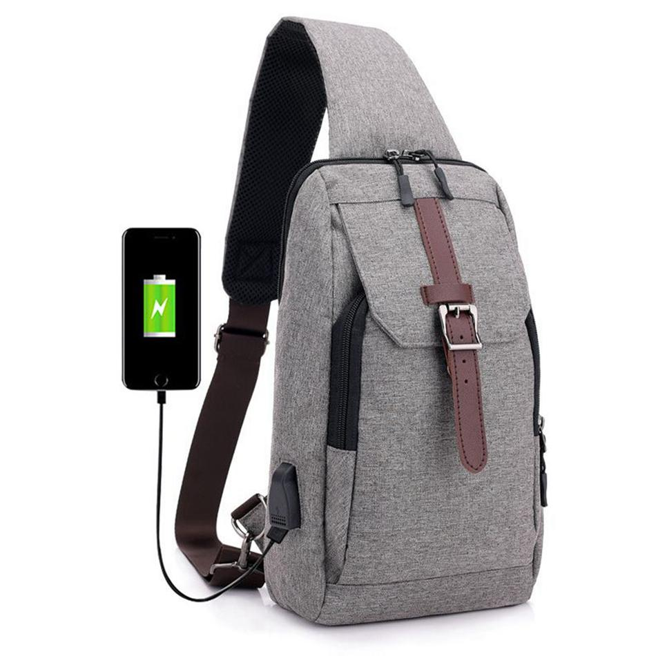 cca6bc7c615 Men's Chest Bag Canvas Sling Bag Casual Multifunctional Male Small  Crossbody Bags USB Charge Fashion Shoulder Bags LJJP354