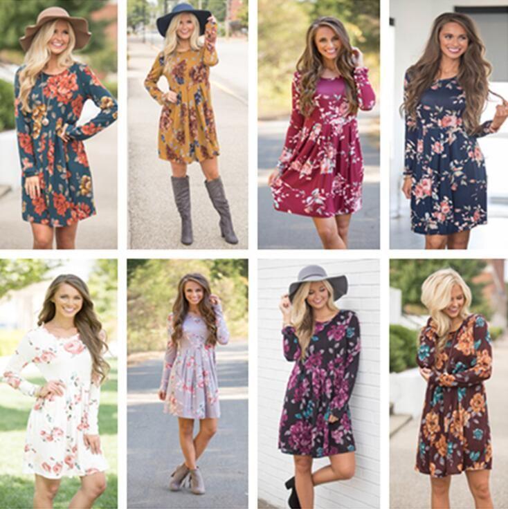 9b66ad8664e Long Sleeve Floral Dress 9 Styles Women Summer Beach Flowers Midi ...