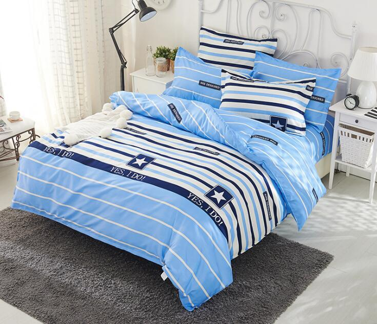 Colorful 4 Pcs Bedding Set Striped Cartoon Pattern Duvet Cover Set Bed Sheet with Pillowcase for Adult Children