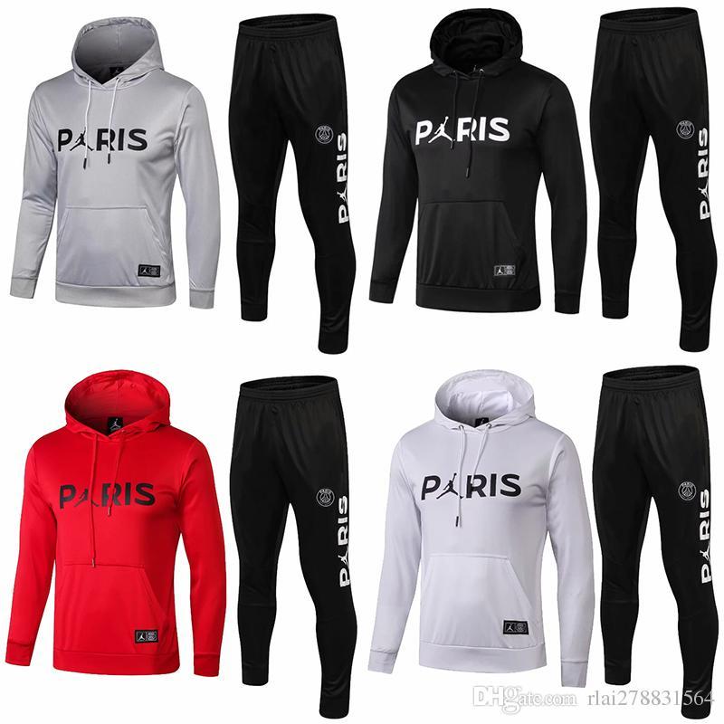 Nouveau pull 1819 logo MJ avec capuche PSG Pullover rouge pour homme 2019 Paris Saint Germain Blanc Pulls à capuche manteau En soldes