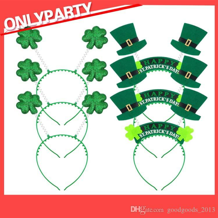 Compre St. Patrick s Irish St Patricks Day Diadema Verde Leprechaun Diadema  Hebilla De Trébol Vestido De Lujo Carnaval Accesorios Fiesta Sombreros De  Copa A ... d0a656288d8