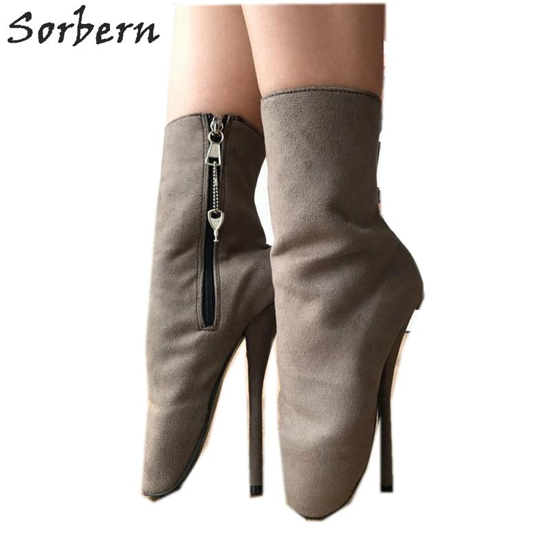 Unisex Side Fetish Shoe Big Size Zipper Grey Sexy Heels Ankle Deep Custom Boots Sm Ballet Heel Women Colors High kZuPXi