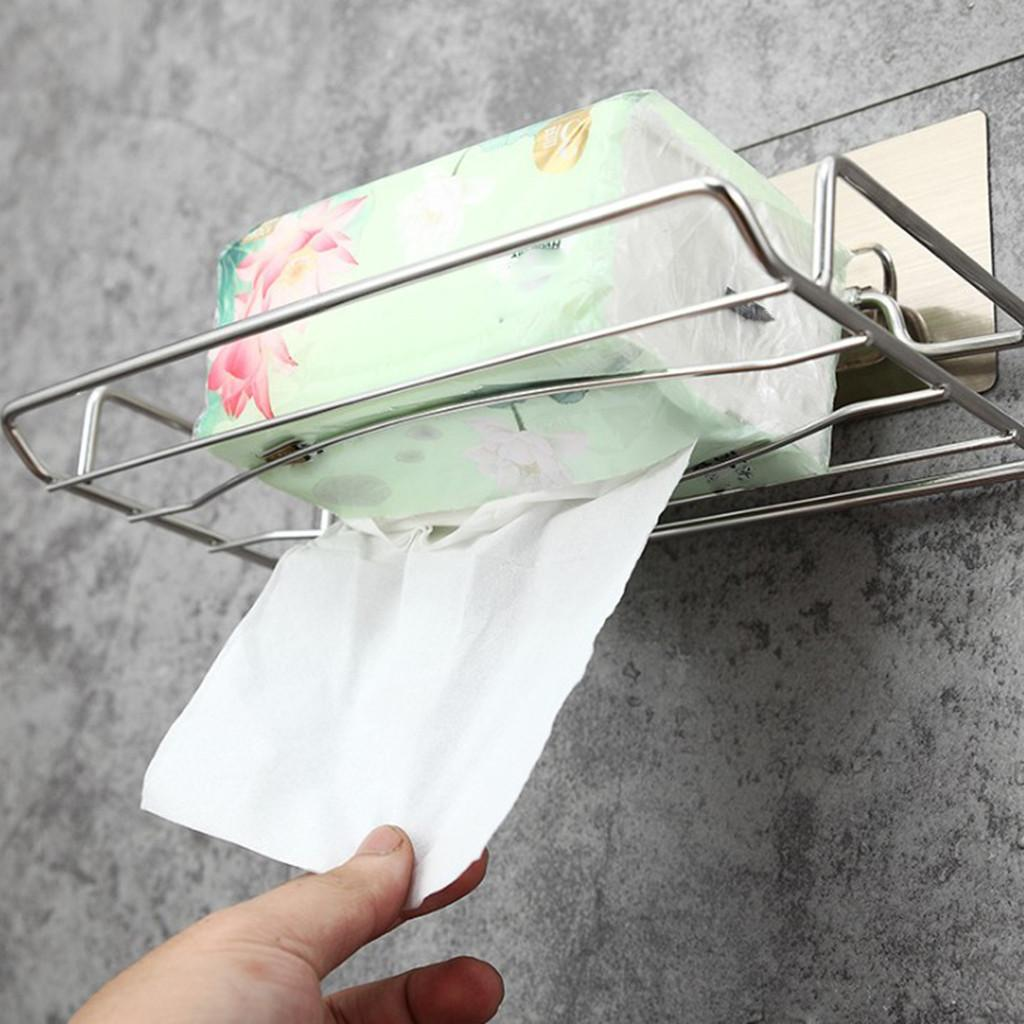 Household Punch-Free Stainless Steel Soap Holder Bathroom Bathroom Shelf Seamless adhesive paper towel holder new 427