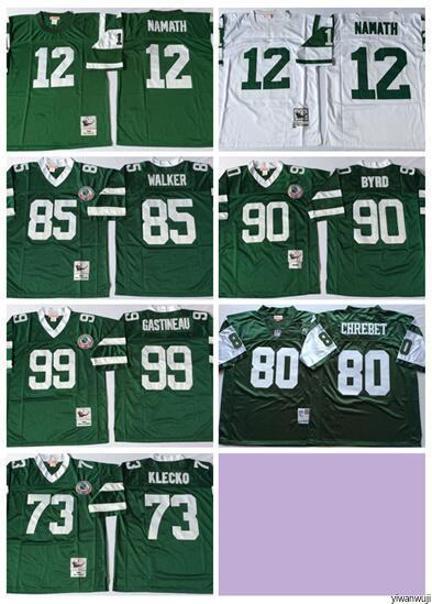 new style 8e013 9a019 Throwback New York 2019 Football Jets 12 Joe Namath Jersey 73 Joe Klecko  #80 CHREBET 99 Mark Gastineau 90 Dennis Byrd 85 Wesley Walker Green