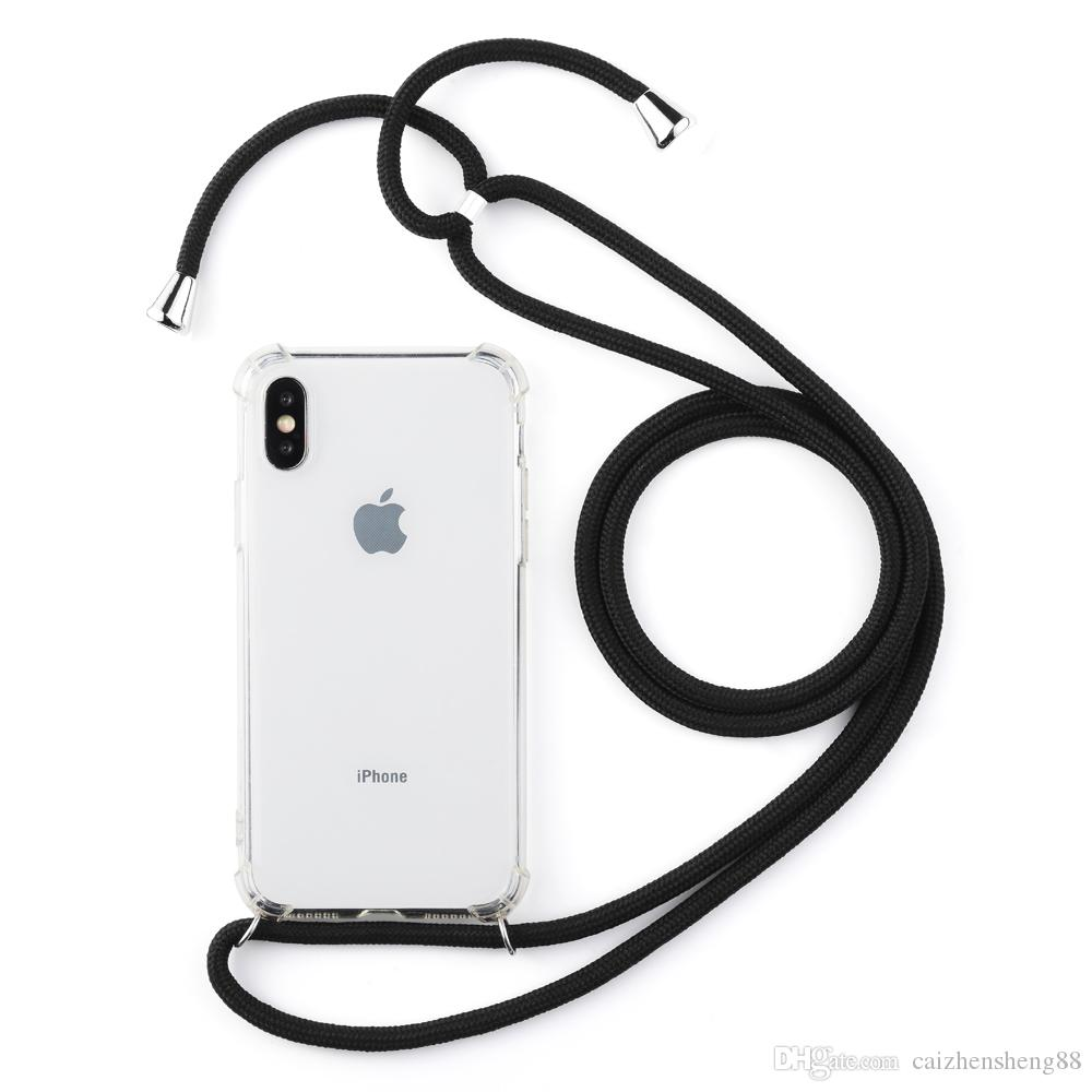 pick up 9a10f d0f20 Neck Shockproof TPU Strap Lanyard Cell Phone Case with Bodycross long rope  for iPhone 7/8Plus , Cover for iPhone xs max