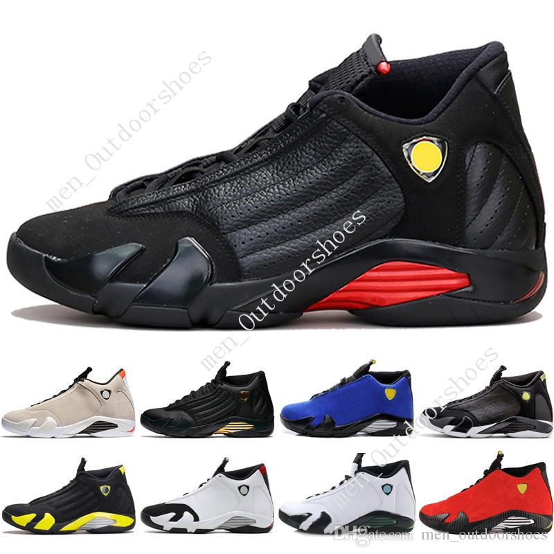 31f810ee87efa9 2019 14 14s Mens Basketball Shoes Desert Sand DMP Last Shot Indiglo Thunder  Blue Suede Oxidized Black Toe Men Sports Sneakers Trainers Designer From ...