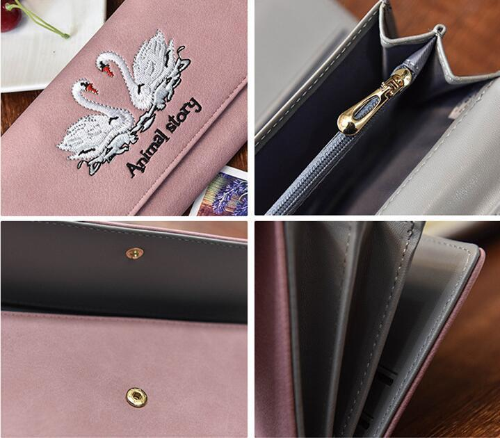2019 Free shippin Factory direct selling bag fashion Swan embroidery long wallet seventy percent function ladies leather purse embroidered