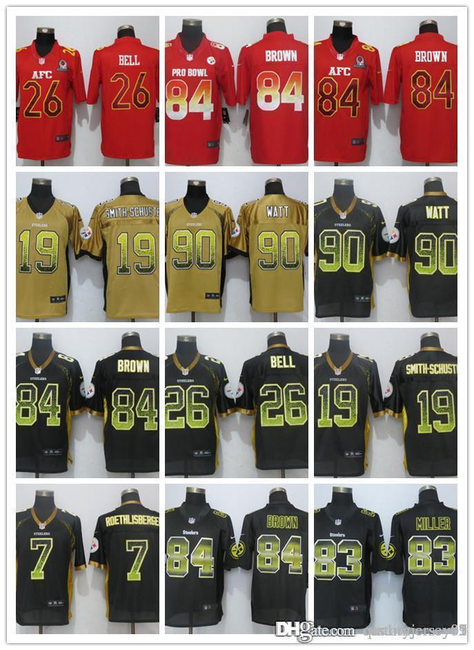 2a19f9d8e 2018 New Men Pittsburgh Steelers 05 Jersey 84 Brown 90 T.J. Watt 19  Smith-Schuster 30 Conner 26 Le Veon Bell 7 Roethlisberger Jerseys Jerseys  Jerseys Jersey ...