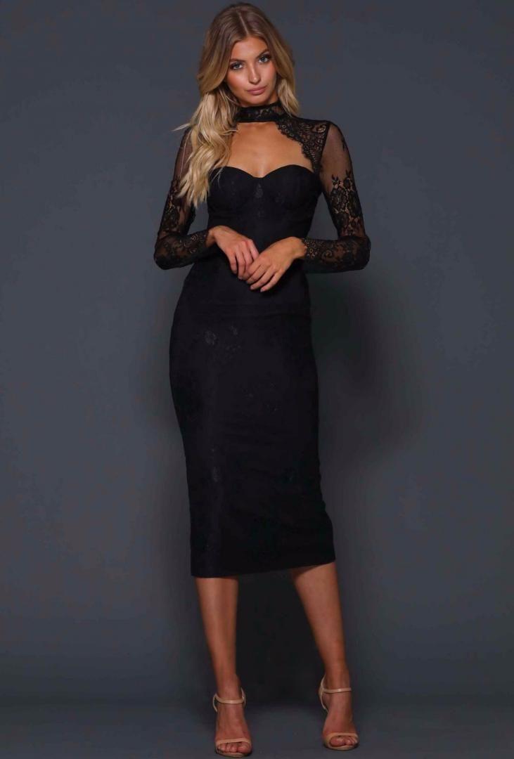 b6fe10467caf Women Black Elegant Lace Mesh Bandage Dress 2018 New Arrival Vestidos O  Neck Long Sleeve Celebrity Evening Party Bodycon Dresses Clothing For Black  Women ...