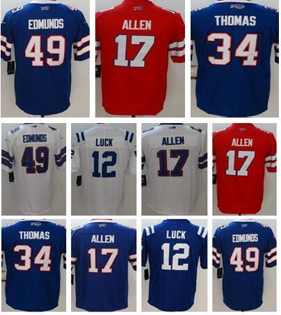 7ea0e573e 2018 New Buffalo 17 Josh Allen 49 Tremaine Edmunds Bills 34 Thurman Thomas  Jerseys Indianapolis Colts 12 Andrew Luck Men Women Youth 17 Josh Allen 49  ...