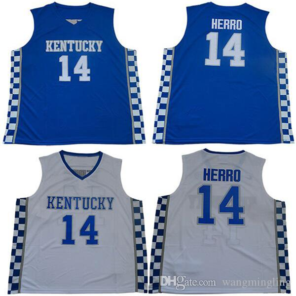 premium selection cce43 e7a28 Men college Kentucky Wildcats jerseys white blue #14 Tyler Herro adult size  basketball jersey stitched mix order free shipping