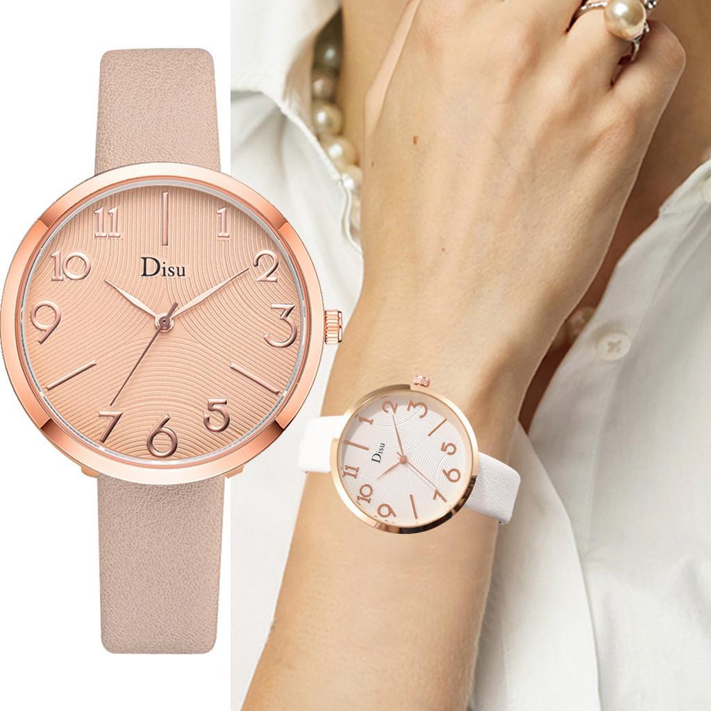 8ba51369e210 Compre Relojes De Mujer Moda De Lujo Reloj Mujer Señora Correa De Cuero  Reloj Número Creativo Reloj De Cuarzo Analógico Bayan Kol Saati A  34.35  Del ...