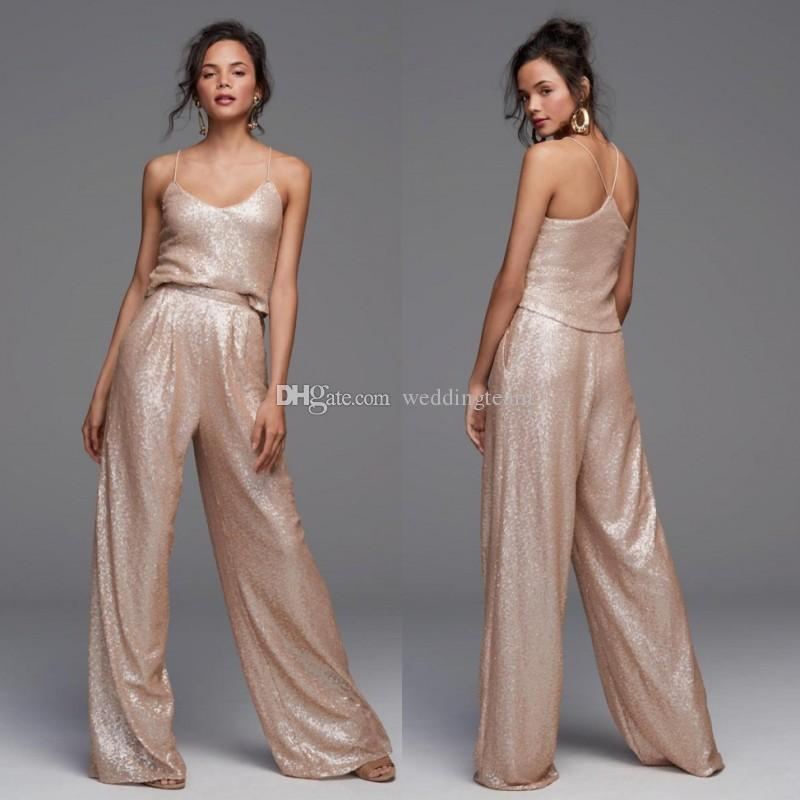 Gold Sequined Jumpsuit Bridesmaid Dresses Two Pieces Wedding Guest Dress With Pockets Floor Length Pant Suits Plus Size Maid Of Honor Gowns