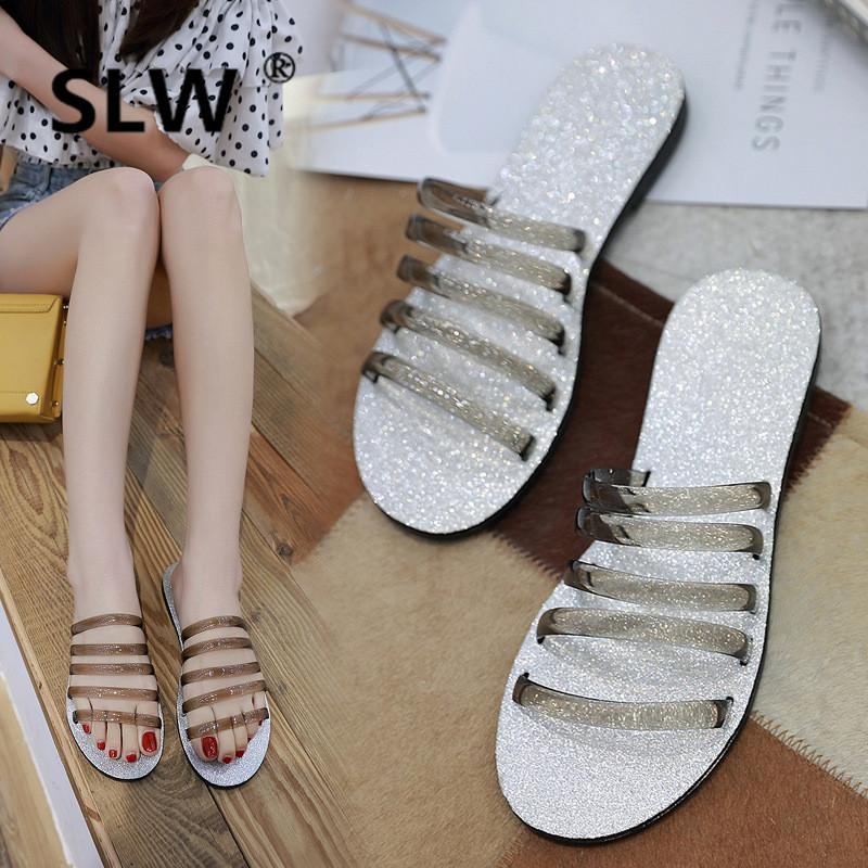 d5892c329 Jelly Shoes Women Narrow Band Open Toe Flat Slippers Woman Bling Bling Beach  Slides Ladie Summer Sandals New Flip Flops Gold Shoes Girls Boots From  Penbake