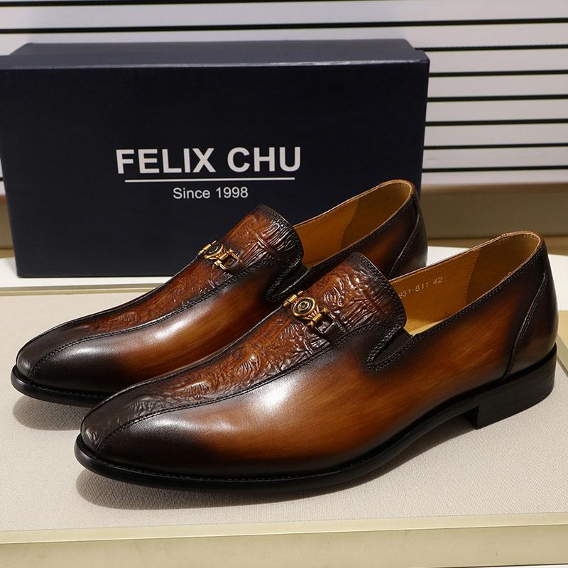 FELIX CHU Men S Brown Dress Shoes Loafer Hand Painted Bicycle Toe Genuine Leather  Black Slip On Man Shoes For Wedding Party Mens Boat Shoes Loafers For ... f31c67cfd