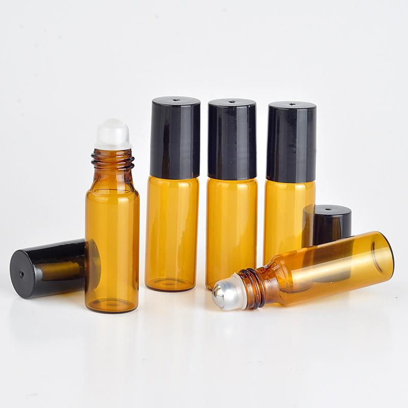 2314559c4215 100pcs/lot 3ml amber Glass Roll on Bottle with Stainless Steel roller  Essential Oil Roller-on bottle Perfume bottle