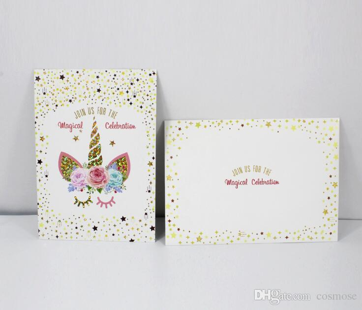 Unicorn Invitation Party Card Cartoon Theme Paper Kids Happy Birthday Supplies Decoration Favors Greet Cards Greeting
