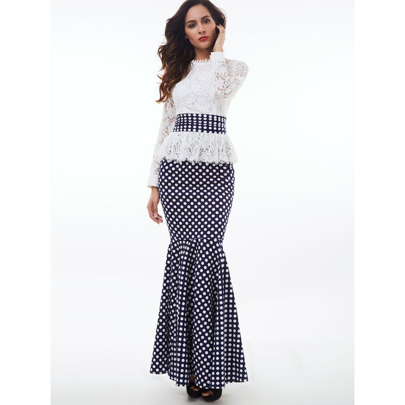 027b55e1dc Women Maxi Dresses Elegant Vintage Party White Spring Mermaid Stand Collar  Polka Dots Falbala Lace Female Retro Fashion Dress Black Sundresses Cute  Party ...