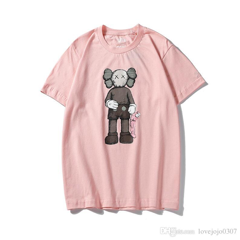 2019 Fashion designer KAWS&UNIQLO cartoon t shirts crossbones spoof men women streetwear t shirt XX unisex sesame street style t shirt
