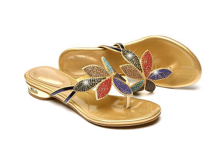 Women Seaside holiday sandals Beach slippers Genuine Leather colour Rhinestone Flip Flops Slippers outdoors Non-slip Slippers low heel