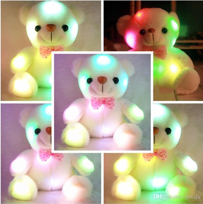 a57b9dfb35d 8inch Light Up LED White Bear 20-22 CM Stuffed Animals Luminous Plush Toy  Teddy Bears Colorful Glowing Brighting Shinning Xmas Gift for Kids 8inch  Light Up ...