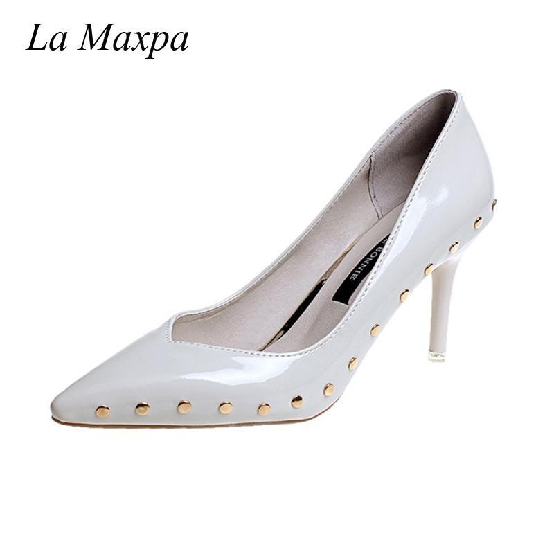 4386a89c Vestido La Maxpa Mujeres Remache Punta estrecha Tacones delgados Bombas  Diseñador de lujo Sandalias de moda Lijar zapatos de tacón alto de cuero ...