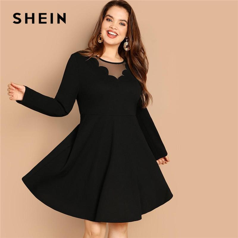 767036c05e SHEIN Black Elegant Mesh Scallop Trim Chest And Back Plus Size Women Knee  Length Dress Long Sleeve High Waist Slim A Line Dress Women Dress Styles  Long ...